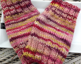 A pair of 6.5 inch short wrist warmers, texting gloves hand knitted from hand spun BFL and silk, medium sise luxury gloves