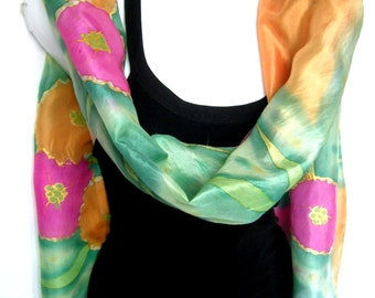 Hand Painted Silk Scarf, Silk Scarf Handpainted,  Grass Green Pistachio Pink Orange, Floral Tropical Flowers, Gift For Her
