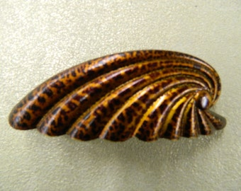 Vintage copper overlay celluloid hair barrette clip made in France