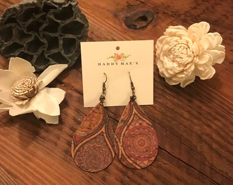 Paisley Leather Teardrop French Hook Earrings