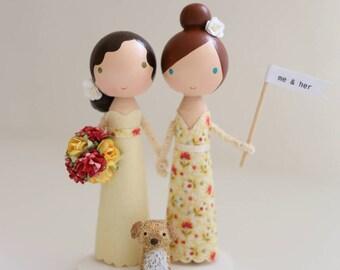 me & her custom wedding cake topper