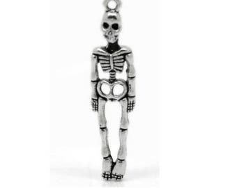 SET of 3 charms silver skeleton Halloween (C38)