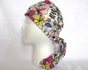 Surgical Scrub Cap, Scrub Hat, Tie back, adjustable, Scrub Hat, freestyle floral, White, Yellow, blue, pink, scrub hats, scrub caps