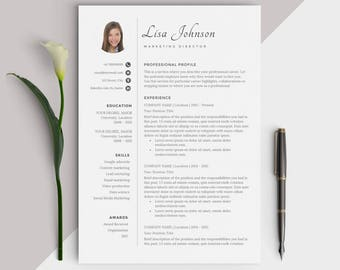 Resume template with image / Photo CV Design - Easy Instant Download for Word - Creative and Inspiring look for Jobseekers - Excellent
