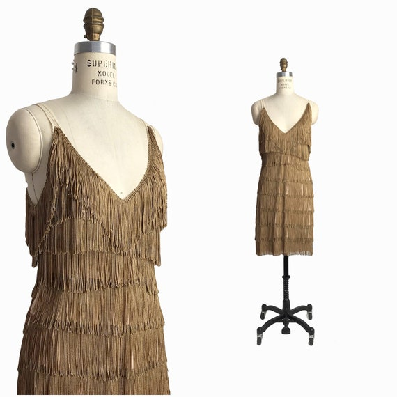 Vintage Fringed Flapper Costume Dress in Antique Gold - women's small / US 6