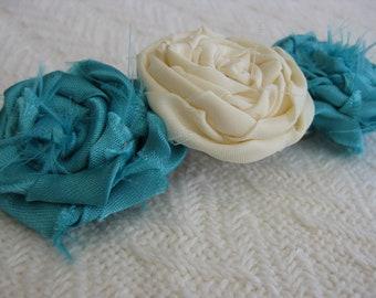 Fabric Rosette Turqouise Blue and Cream Barrette Hair Clip