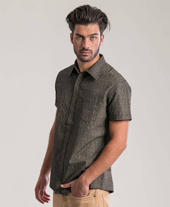 Shipibo Mens Button Up Shirt Black Button Down Sacred Geometry Man Clothing Psychedelic Fashion For Men Oxford Shirt Short Sleeve fOrhXov1Yj