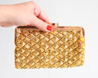 Gold wedding clutch, gold sequin clutch, gold bridal purse, gold evening bag, vintage party bag, gold embroidered bag, evening bag, gold bag