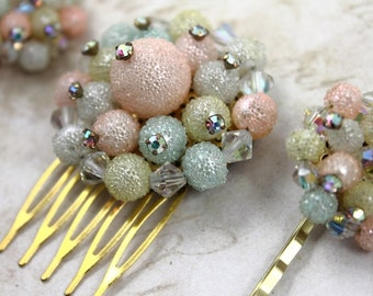 Vintage Pastel Jeweled Hair Pins and Comb Set, Pastel Bridal Hair Piece, Vintage Pastel Cluster Bobby Pins and Hair Comb Set