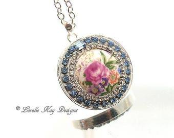 Elegant Roses Necklace Pink Rose Flower Blue Rhinestones Flower GardenTheme Pendant Lorelie Kay Original