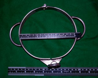 BDSM Steel collar with 2 locking loops in stainless steel