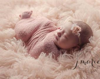 Blush Pink Stretch Knit Wrap Newborn Baby Photography Photo Prop
