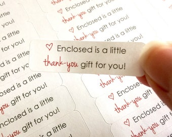 Thank you labels - Free gift labels - small shop stickers - small business packaging