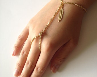 Gold Hand Chain Bracelet with Gold Leaf and Topaz Crystal