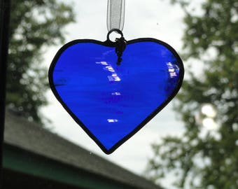 Stained Glass Heart Suncatcher with Key