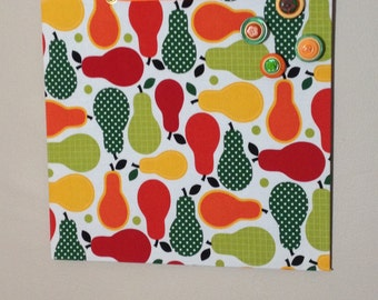 fabric covered magnet board 12x12 pear print