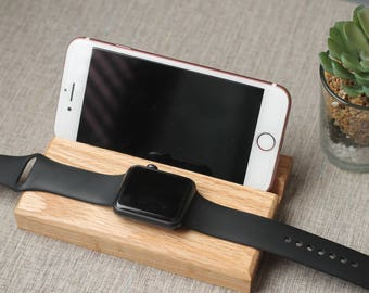 Phone Block Apple Watch and iPhone Docking Station Charger Handmade iPhone 8 Docking Station