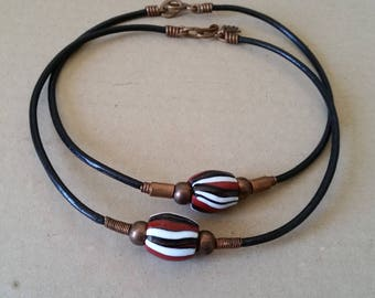 SINGLE BEAD CHOKER on Leather Cord. Large Striped Fused Glass Bead. Red, White, Black, Copper.  For Men, Women, Unisex. 17 Inch Size.