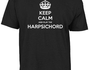 Keep calm and play the harpsichord t-shirt