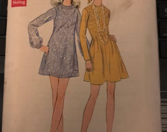 Vintage 60s Butterick 5718 Uncut Dress Pattern-Size 12 (34-25 1/2-36)