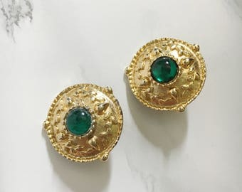 statement earrings with acrylic emerald center
