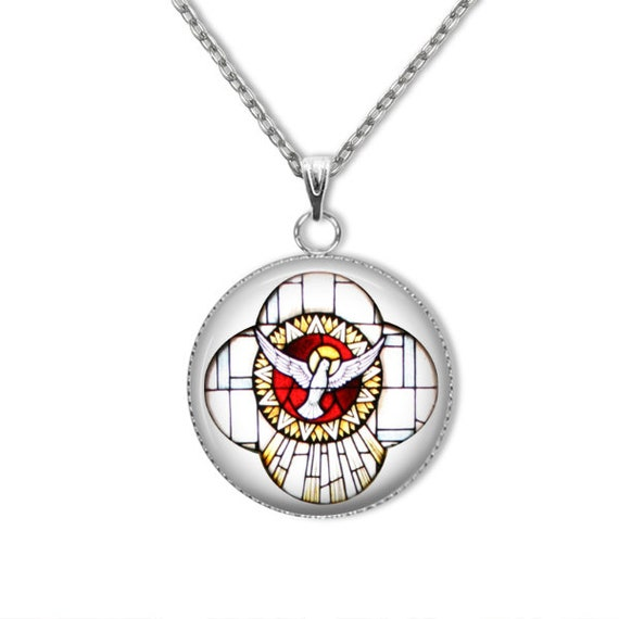 Holy Spirit stainless steel Pendant with stainless silver chain - lightweight, hypoallergenic- Confirmation Gift