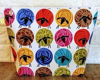 Fluffy Sheep Knitting Project Bag - Medium / Shawl Size