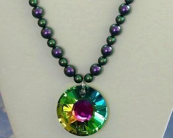 Swarovski Iridescent Green and Purple Pearl Necklace made with a Sparkling Rainbow Swarovski Pendant