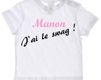 tee shirt baby I swag personalized with name