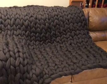 Hand Knit Pure Merino Wool Blanket
