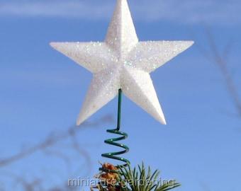 White Glittery Star Tree Topper, 1 Piece for Miniature Garden, Fairy Garden
