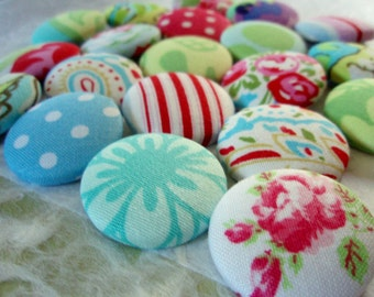 Buttons - It's a Mod, Mod World Fabric-covered Buttons - Set of 10 - Fashionable Designer Fabric Covered Buttons - Colorful Floral Designs