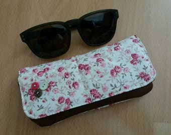 Floral cotton and faux brown leather glasses case