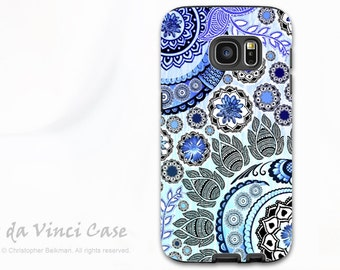 Blue Paisley Case for Samsung Galaxy S7 - Premium Dual Layer Galaxy S 7 Case with Floral Art - Blue Mehndi - by Da Vinci Case