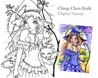 October Night - Digital Stamp Instant Download / Kitten Cat Witch Moon by Ching-Chou Kuik