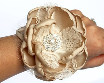 Champagne Wrist Corsage , Champagne Corsage , Rhinestone Bracelet , Lace and Champagne