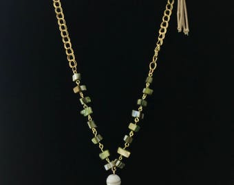 Agate Necklace with Gold Chain & beige cord