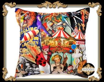 Circus Themed Throw Pillow, Circus Motif Large Velvet Pillow, Vintage Circus Pillow, Vintage Clowns