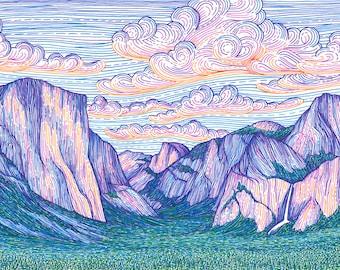 Yosemite Valley 6.5x15 Print - Rock Climbing Art Archival Print - Yosemite National Park, California Colorful Landscape Art