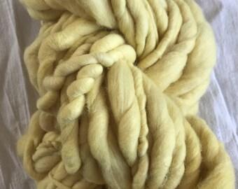Peppermint dyed, handspun luxury yarn, 32 yards, bulky weight handspun, plant dyed, yellow yarn, botanical dyes, super soft handspun yarn