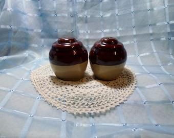 Vintage Stoneware Salt & Pepper Shakers