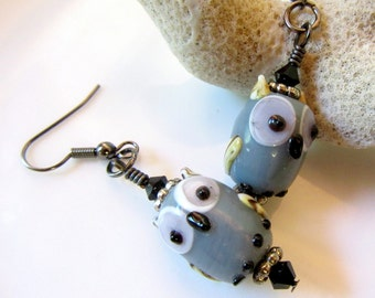 Gray Owls Earrings, Lampwork Glass Owls Earrings, Big Eyes Owl Jewelry, Gray Owl Earrings with Faceted Black Crystals