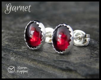 Red garnet earrings, oval earrings 8x6 mm. Sterling silver 0.925. January birthstone. Ready to ship! 115
