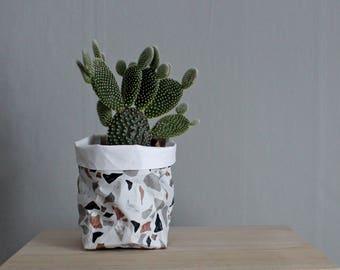 Stylish storage, Terrazzo pattern washable paper bag, paper storage basket, abstract pattern, granite, monochrome, modern home