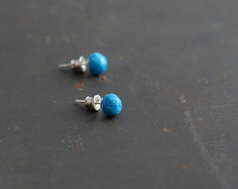 Blue Paper Stud Earrings, 1st Anniversary Gift for Wife