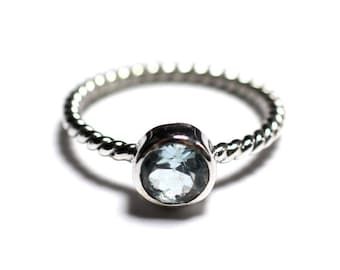 N231 - Ring 925 sterling silver and stone - Blue Topaz 6 mm ring twist