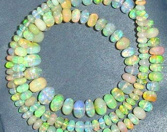 Just Got,Exceptional Quality,Ethiopian Opal Smooth Rondells, Full 16 Inch Strand, Amazing Inside Fire AAA Quality 3-5mm Size