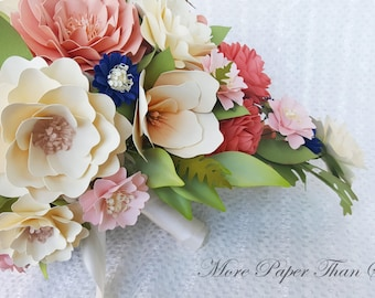 Paper Bouquet - Cascading Bouquet - Paper Flower Bouquet - Wedding Bouquet - Coral with hints of Navy - Custom Made - Any Color
