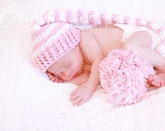Photo Prop Crochet Newborn Baby Elf Hat  Pink and White