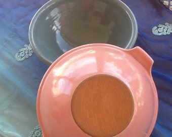 Stoneware Nesting Mixing Bowls, Great Colors! Signed by the Potter